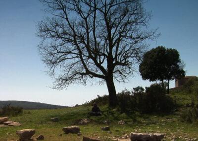 Home empestat vetllant les tombes de la seva família